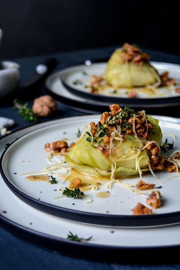 Potato and Apple Stuffed Cabbage Rolls with Walnut Butter and Gruyère