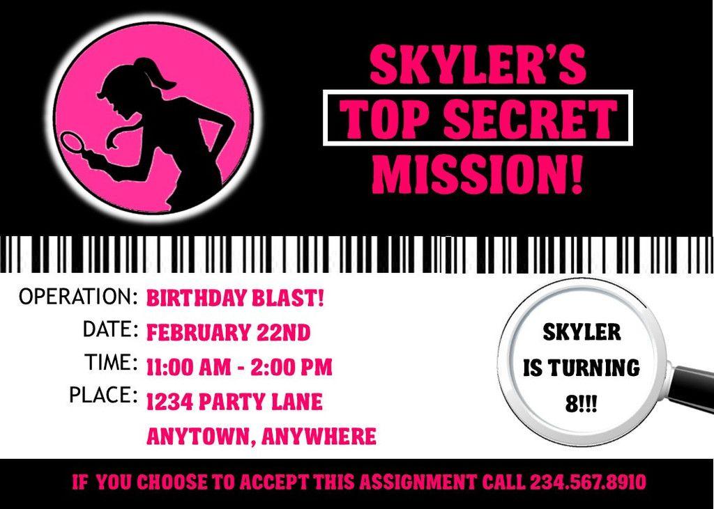 Girl Spy Party Invitation - EDITABLE   Spy party, Spy and Party ...