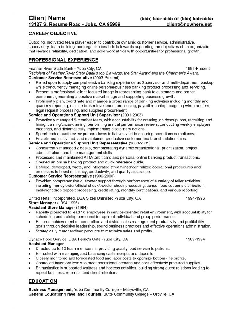 csr resume for bank customer service skills example representative ...