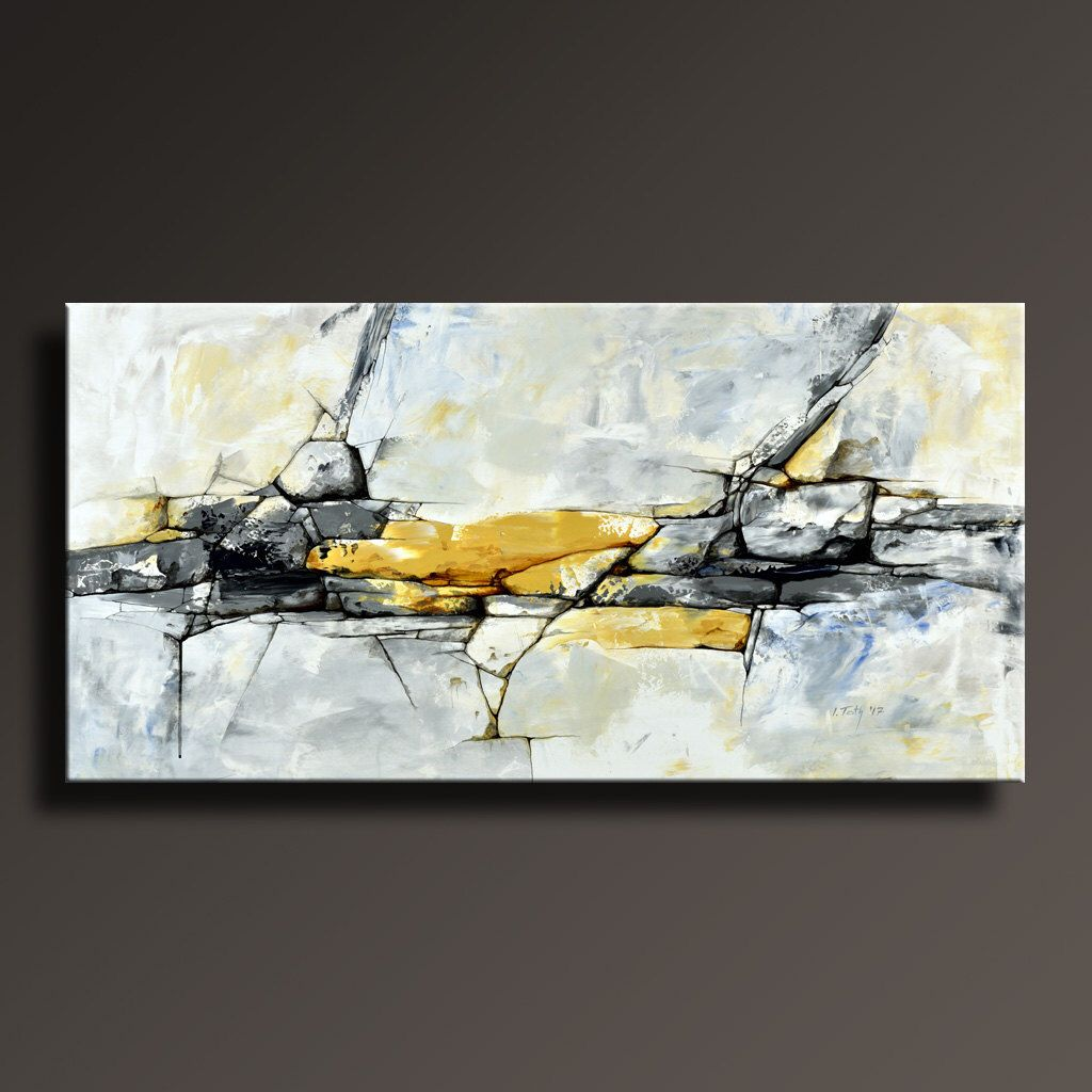 ORIGINAL ABSTRACT Painting Black White Yellow Gray Blue Contemporary ... for Abstract Paintings Black And White And Blue  110yll