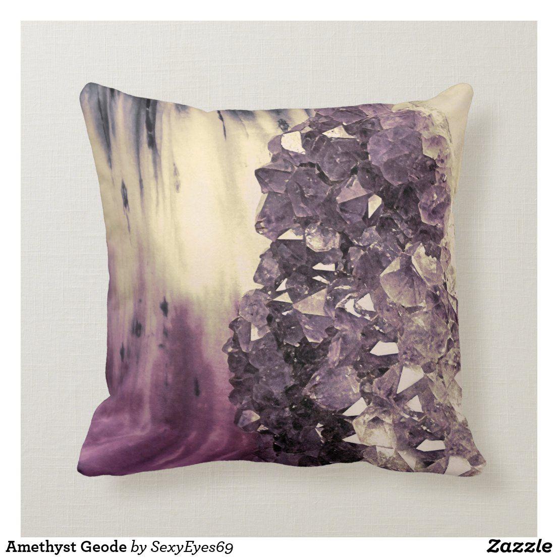 Amethyst Geode Throw Pillow Zazzle Com Throw Pillows Amethyst Geode Pillows