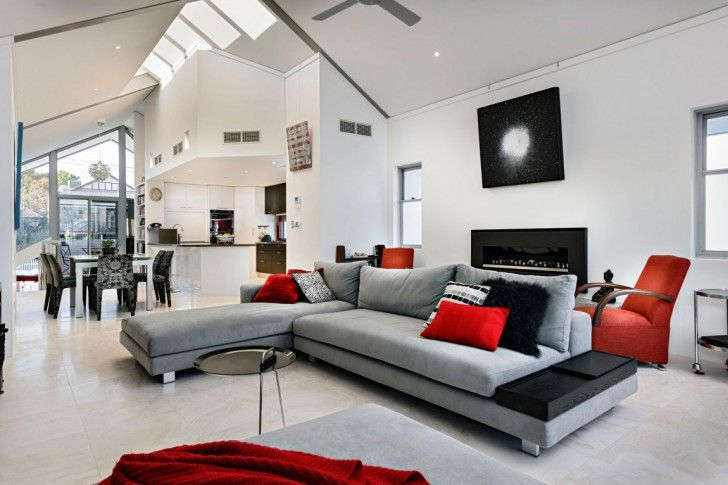 Living Modern Black White Red Room Decorating