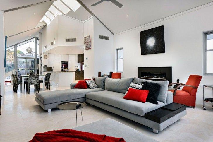 Living Modern Black White Red Living Room Modern Decorating