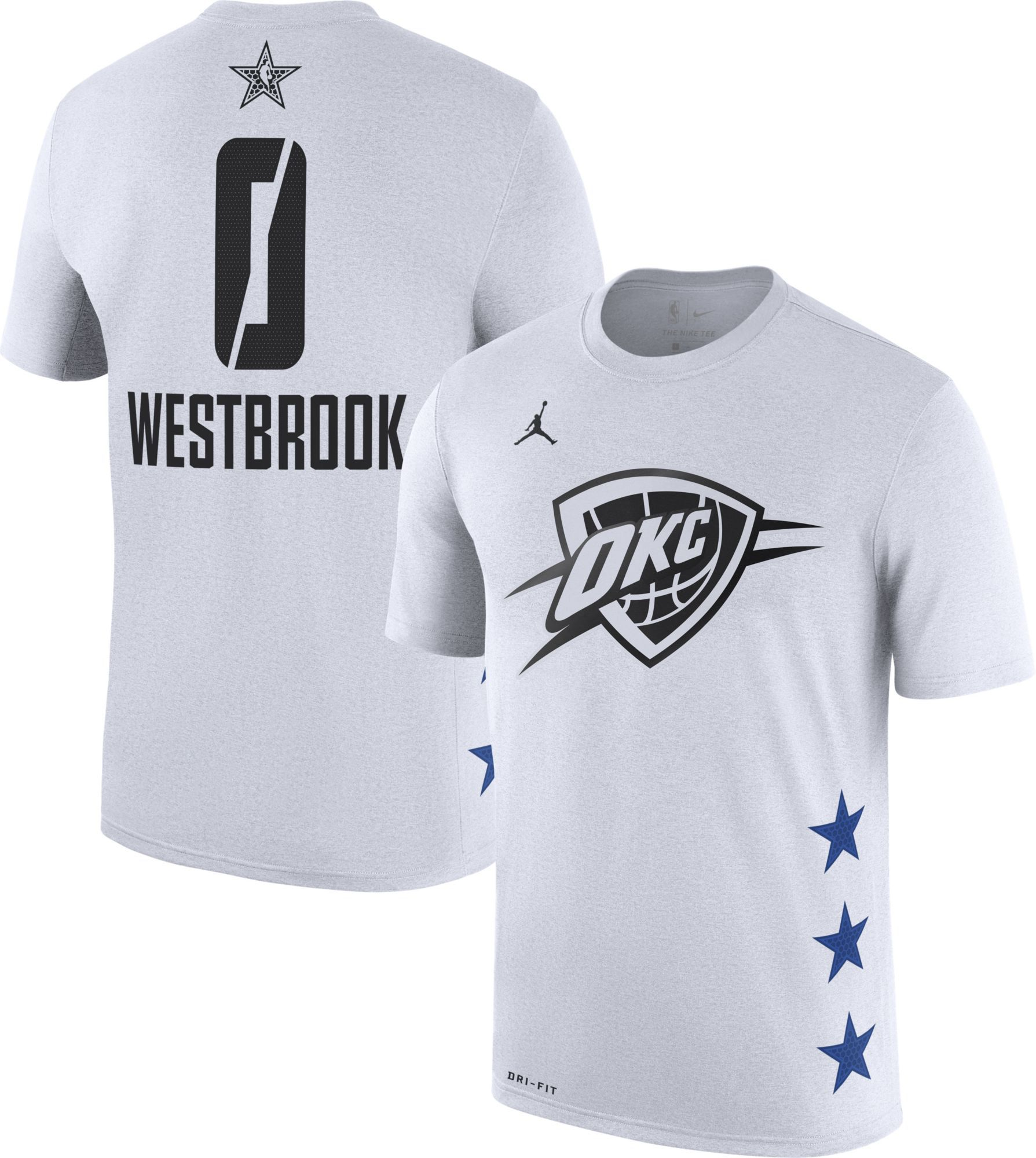 a600415e2 Jordan Men's 2019 NBA All-Star Game Russell Westbrook Dri-FIT White T-Shirt,  Size: Small