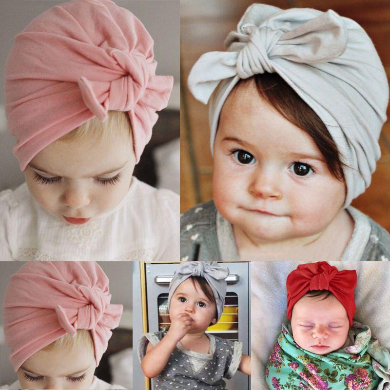 Newborn Baby Infant Girl Bowknot Turban Cap Soft Beanie Hat Headwear Headband