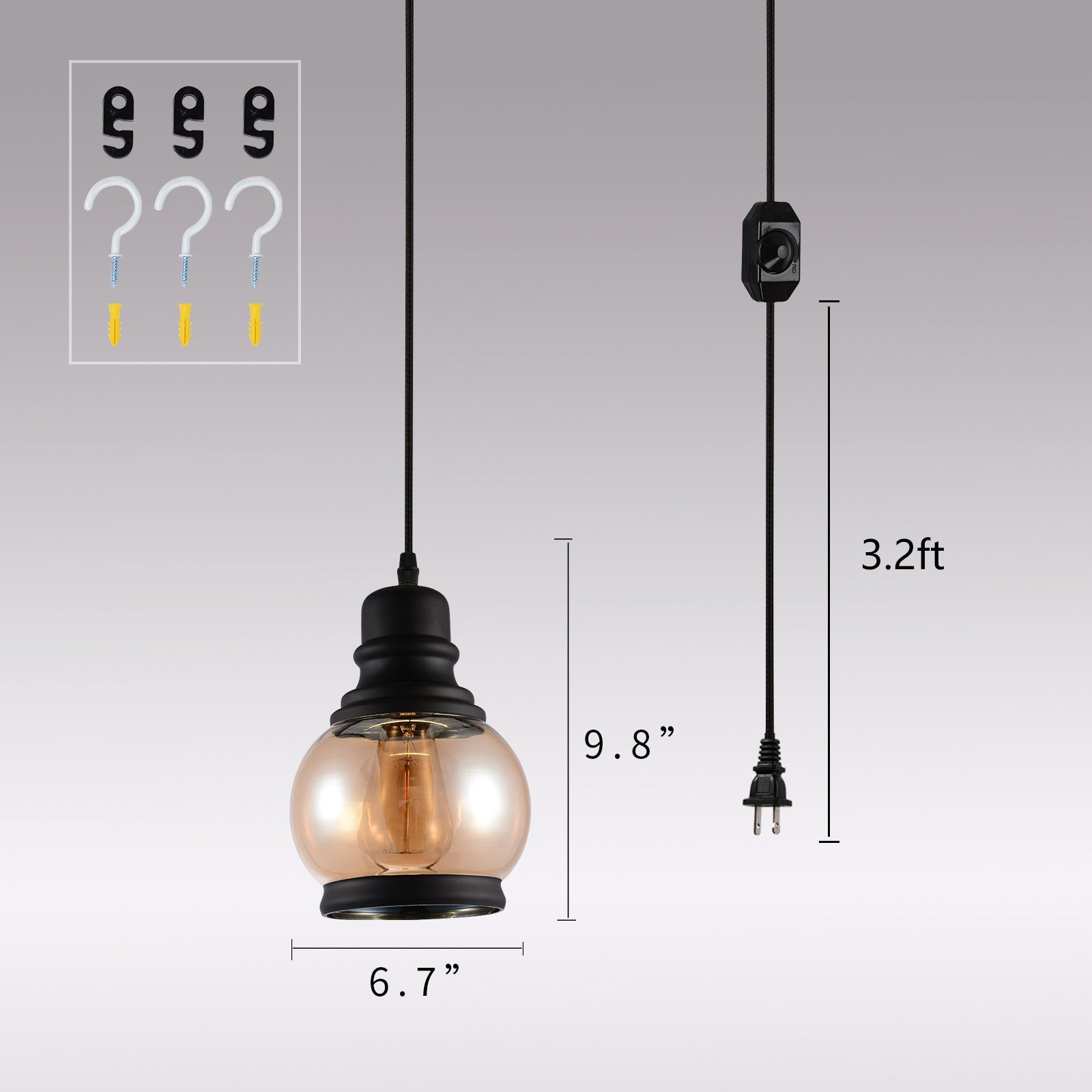 Hmvpl Glass Hanging Lights With Plug In Cord And On Off Dimmer Switch Updated Industrial Edison Vintage Swa Swag Chandelier Ceiling Lamp Pendant Light Fixtures