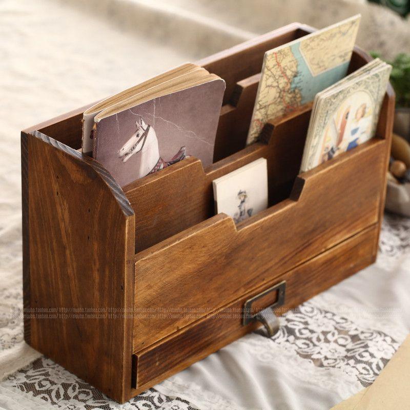 Zakka Vintage Wood Storage Cabinet Book Magazine Newspaper