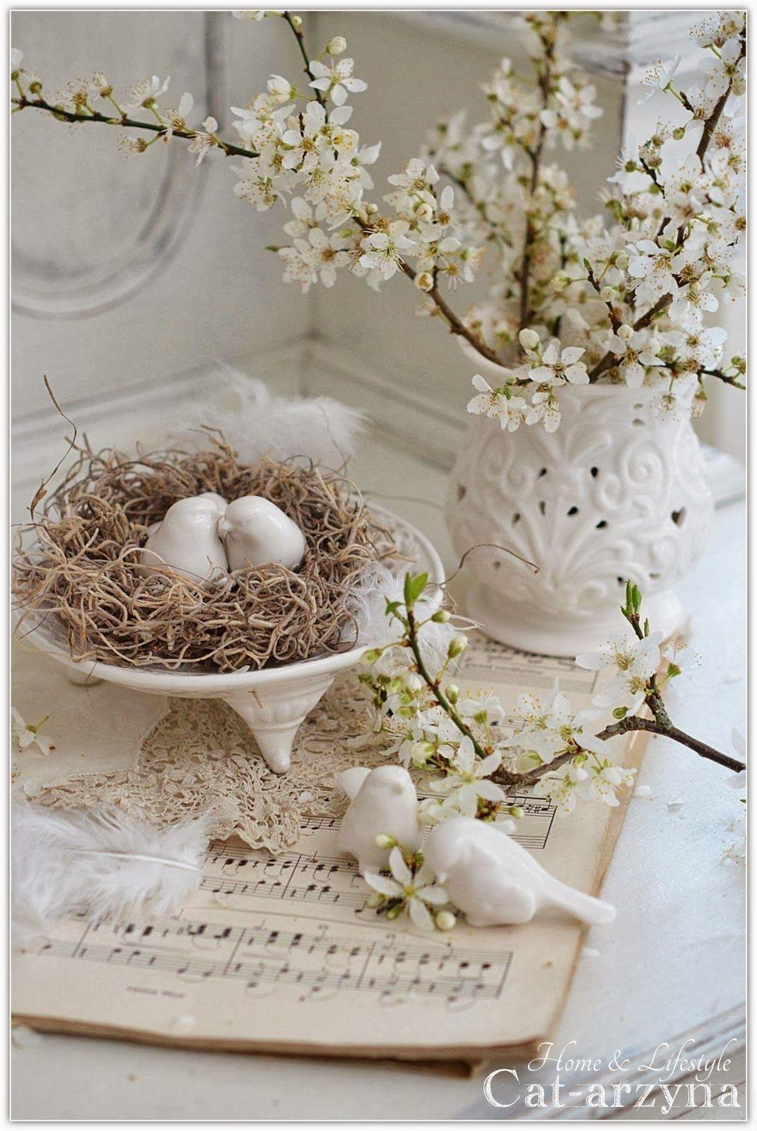 Spring Vignette In Shabby Antique Whites Myviewfromsomewhere
