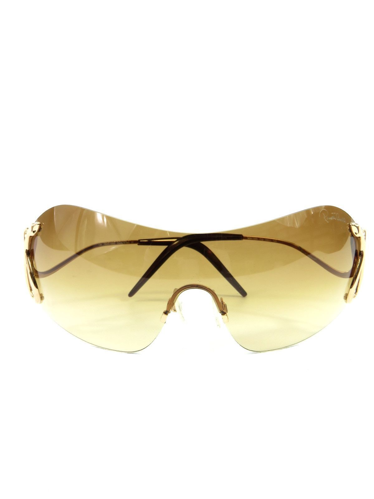 6c5a20e8191b ROBERTO CAVALLI Women Gold Snake Beige Gradient Frameless Shield Sunglasses