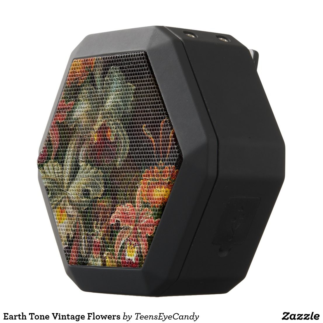 Earth Tone Vintage Flowers Black Bluetooth Speaker