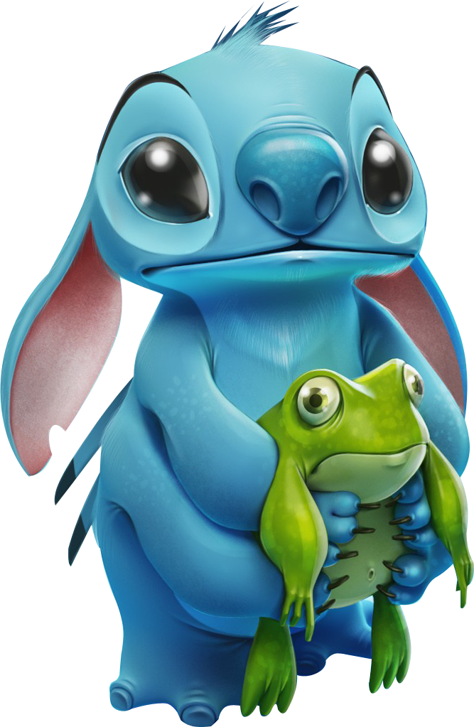 Render Disney Renders Stitch Disney Bleu Grenouille Verte