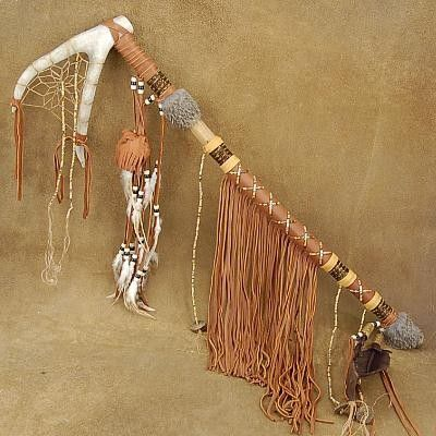 Dream Catcher Plains Indian Antler Smokable Peace Pipe
