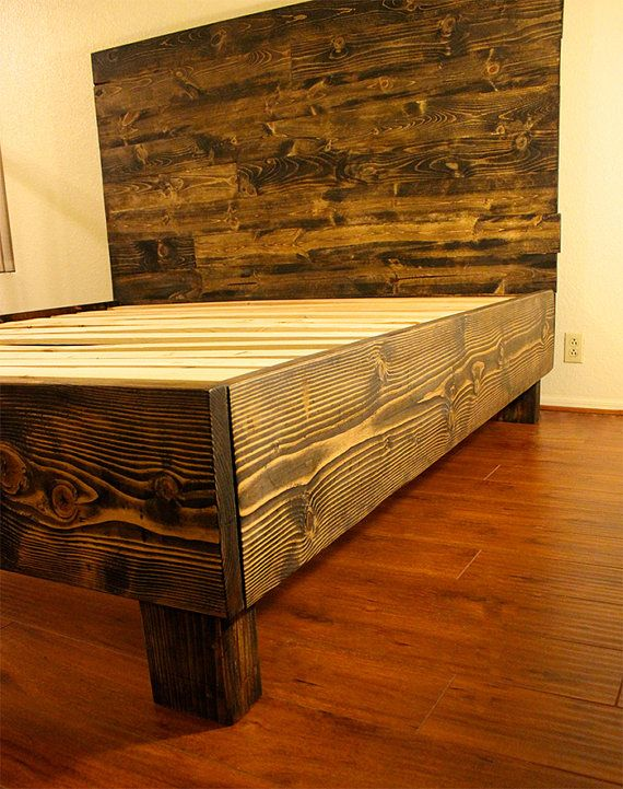 rustic solid wood platform bed frame headboard by pereidarice diy master bedroom pinterest. Black Bedroom Furniture Sets. Home Design Ideas