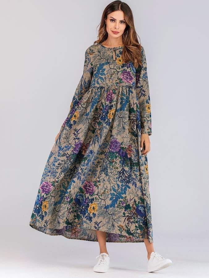 475c3b7050 Shein Floral Print Hidden Pocket Longline Dress in 2019 | Products ...