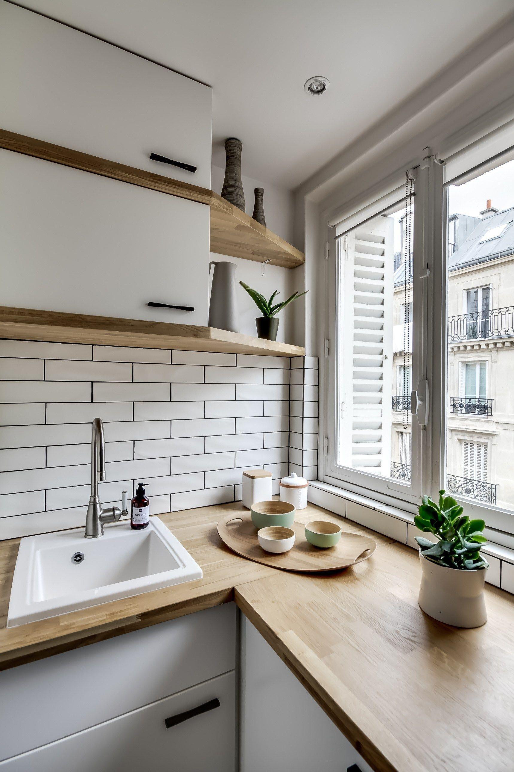 Un petit deux pièces typiquement parisien  Cuisine appartement