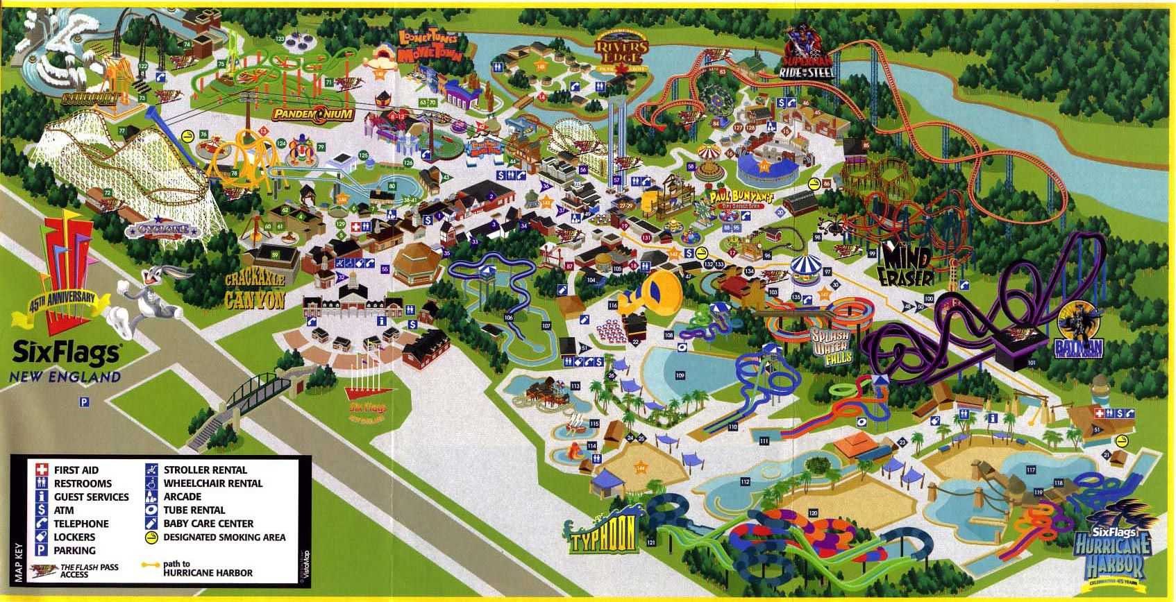 six flag new england map Six Flags New England Six Flags Theme Park Park
