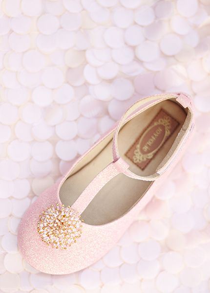 Londyn T Strap Shoes For Girls In Pale Pink Glitter Kids More