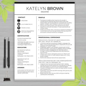 TEACHER RESUME Template For MS Word + Educator Resume Writing - educational resume template