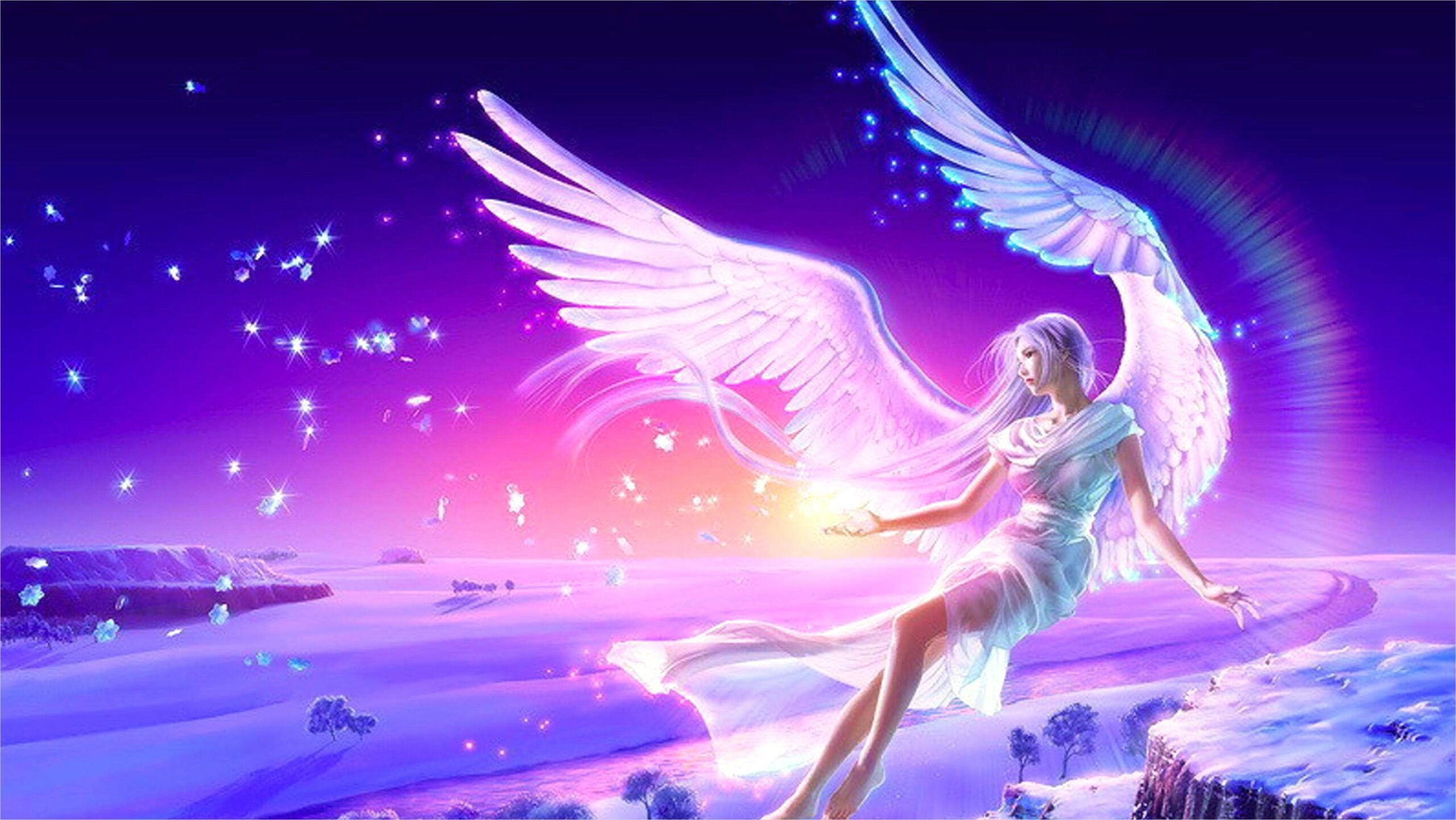 4k Anime Wallpaper Pink Blue In 2020 Angel Wallpaper Beautiful Fantasy Art Anime Wallpaper