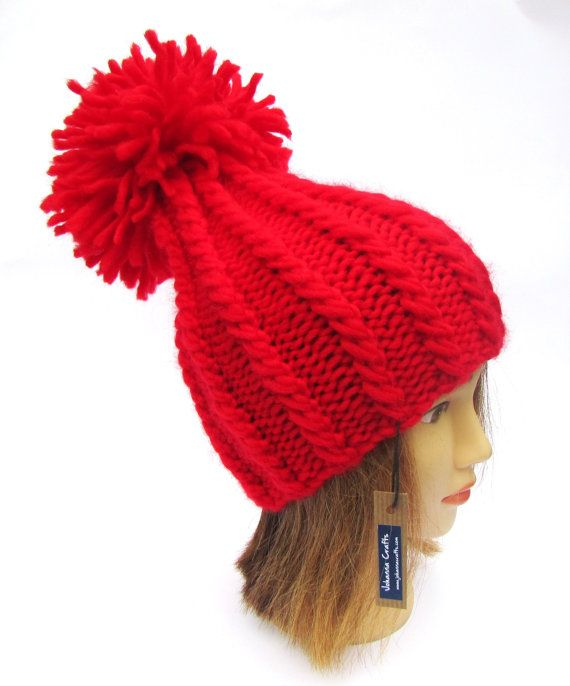 a5cf3e5fa Bright red tall hat for women knit wool hat warm by Johannahats ...