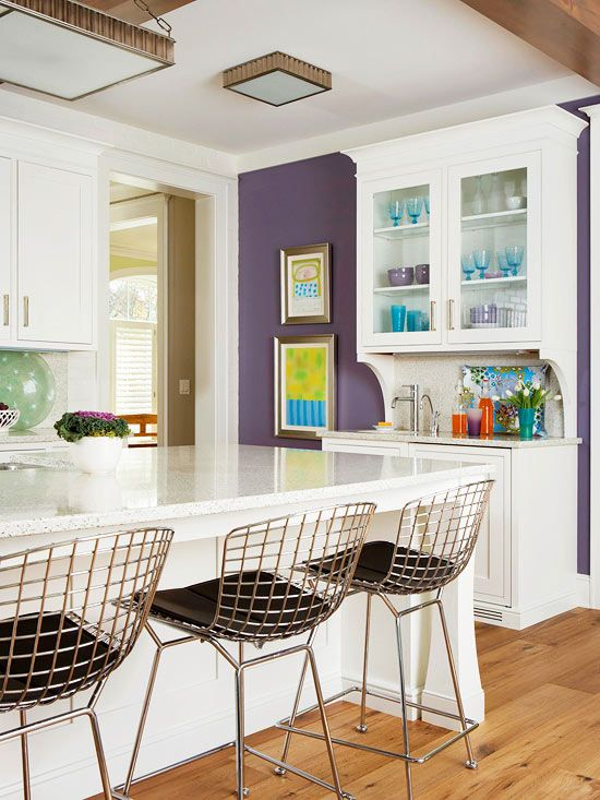 Decorating With Purple Purple Accent Walls White Hutch And