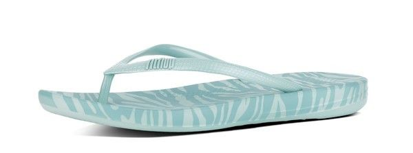 900d879e8e3 FitFlop Iqushion Ergonomic Flip Flops in Aqua Tiger Print colour available  from Brandshop UK with FREE postage and returns.