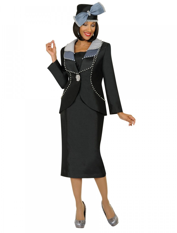 Gmi 4862 Elegant Black White Womens Suit Divine Church Suits