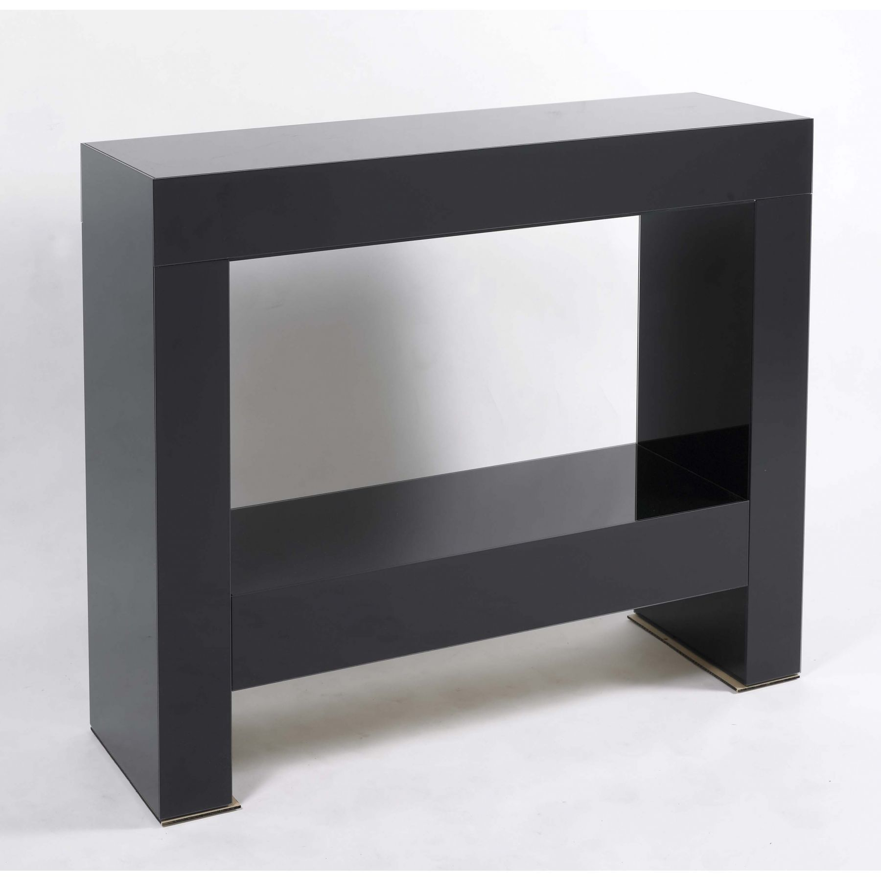 Contemporary Black Parsons Console Table With Glossy Finish