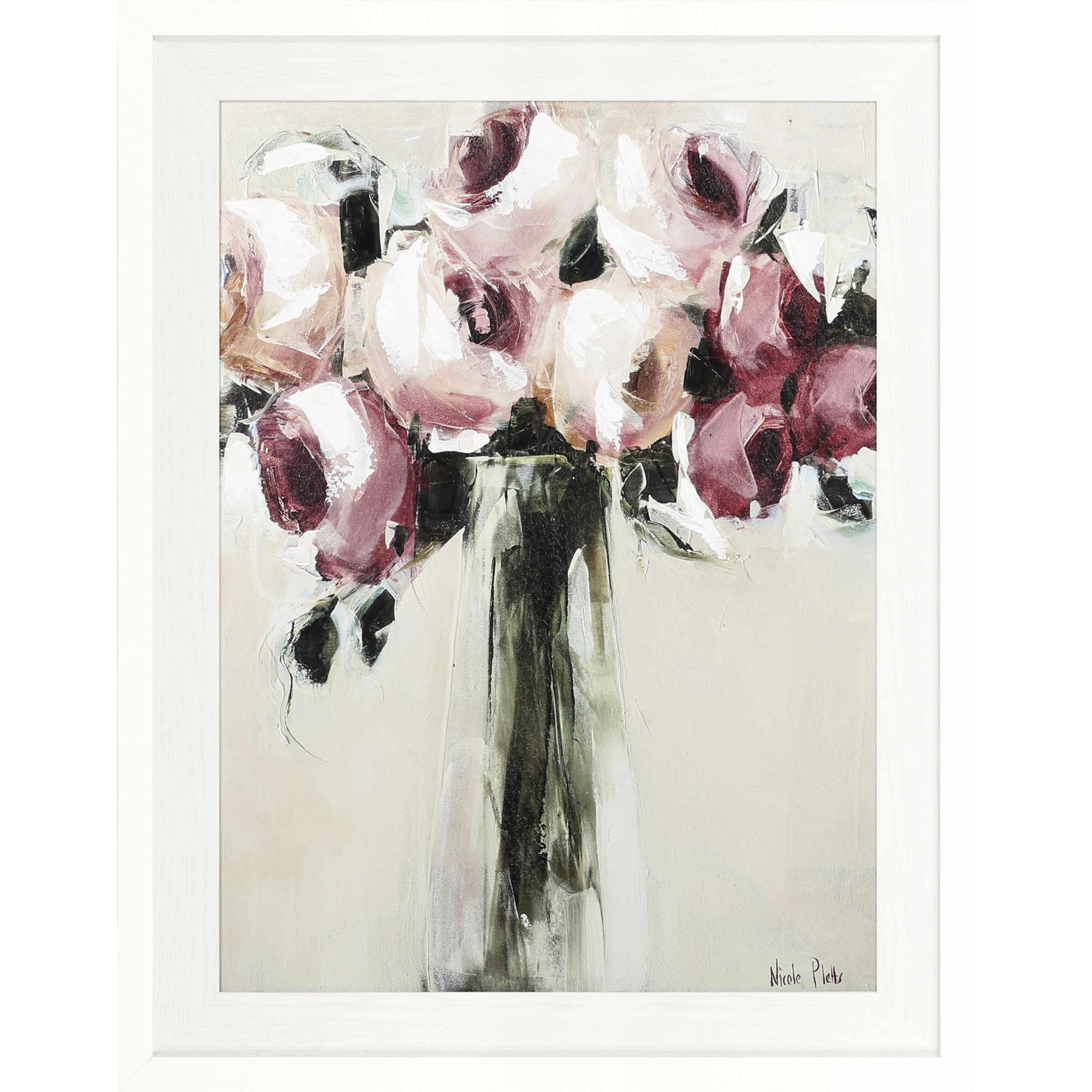 Nicole Pletts Pink Roses Embellished Framed Canvas Print