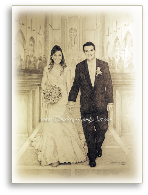 Charmant Wedding Walk Pencil Drawing By Mike Kitchens Timeless Family ARt