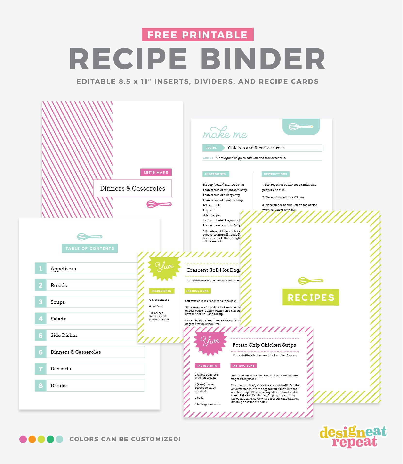 photograph about Free Printable Recipe Binder Kit identify Arrange your preferred recipes into a Do it yourself recipe reserve with