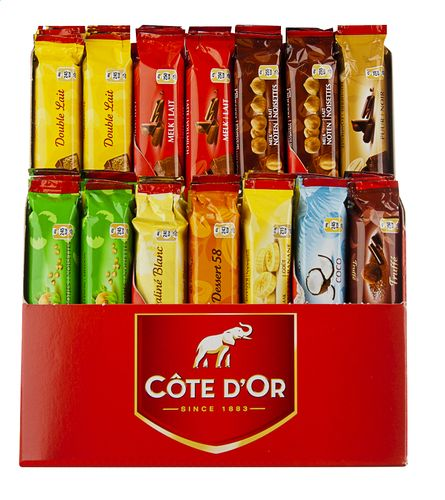 COTE D'OR assortment 56 sticks - 10 tastes 2.6 kg A good assortment of Belgian chocolates. The sticks of Côte d'Or offer a true measure of fun with 4 families declined in several varieties: praline, dark, milk, white and filled with a smooth cream. Best Belgian chocolate: www.chockies.net