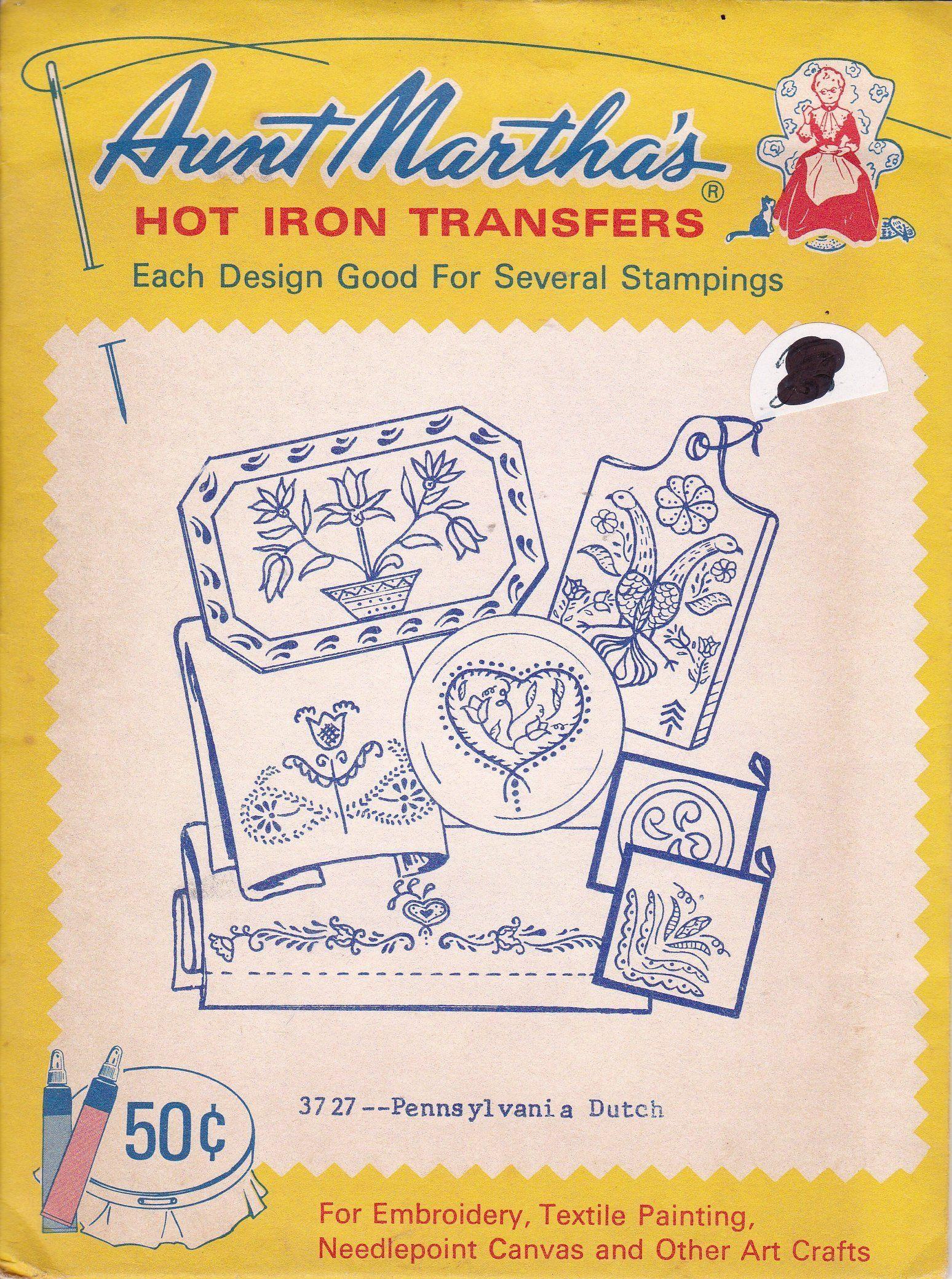 FREE US SHIP Vintage Retro Aunt Martha's Hot Iron Transfer
