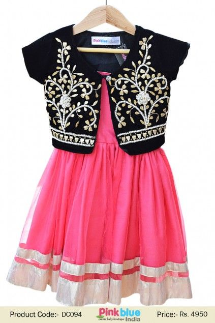eddb8c08226 Black Jacket with Gota Patti on Rose Pink Frock for Indian Children ...