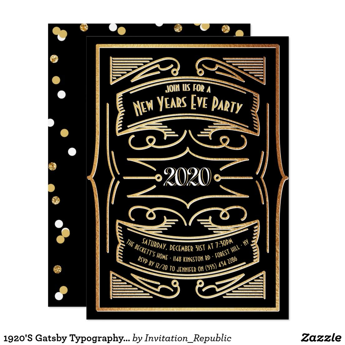 1920'S Gatsby Typography 2020 New Years Eve Party