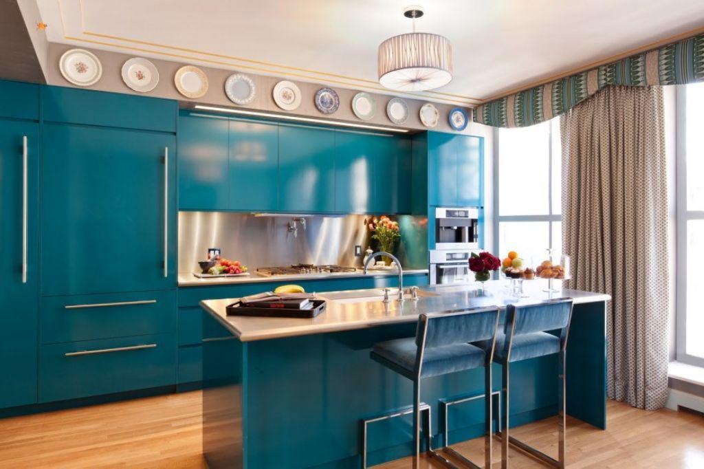 Kitchen Modern Blue High Gloss Kitchen Cabinet White Wooden