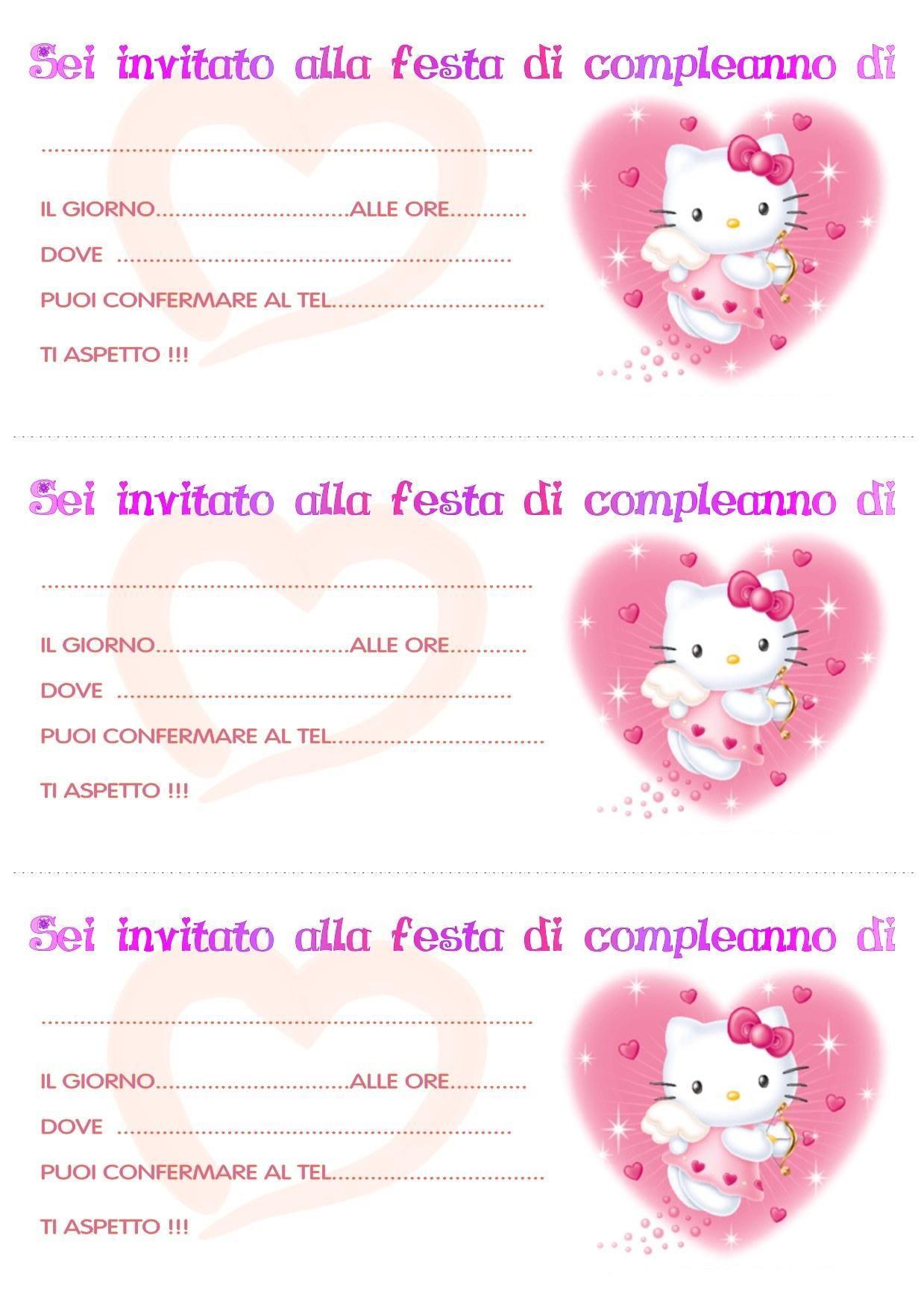 biglietti invito compleanno hello kitty2 mod | Biglietti