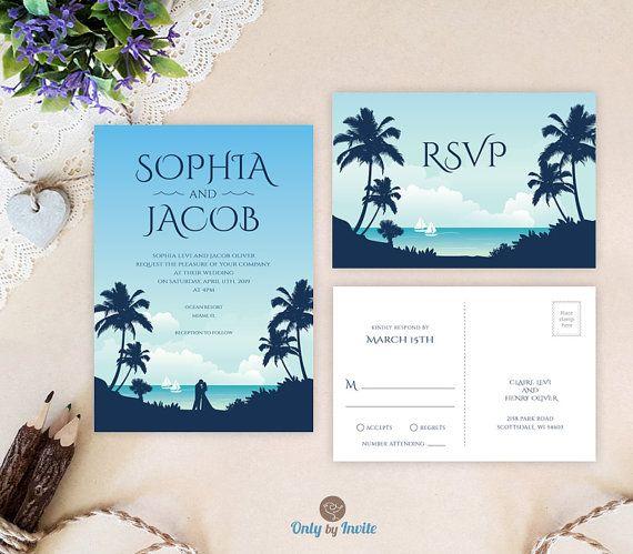 beach wedding invitations with rsvp card printed palm wedding invitations cheap resort wedding - Beach Wedding Invitations Cheap
