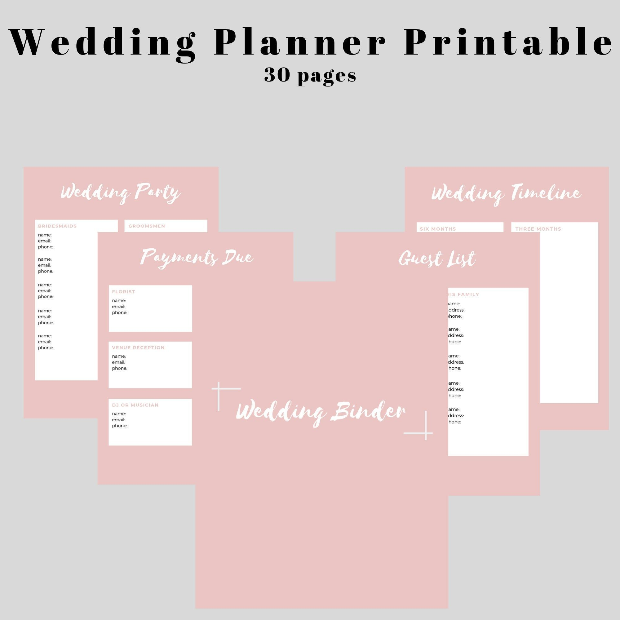 Wedding Planning Binder Printable Binder Planning