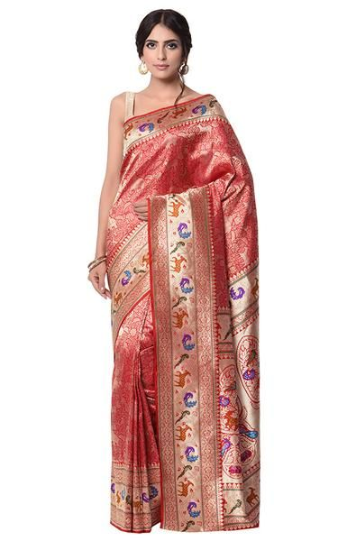 1b2698c11a Red and gold Banarasi kimkhab shikargah Saree | Things to Wear ...