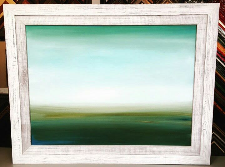 Canvas painting custom framed using two stacked Country Colors ...