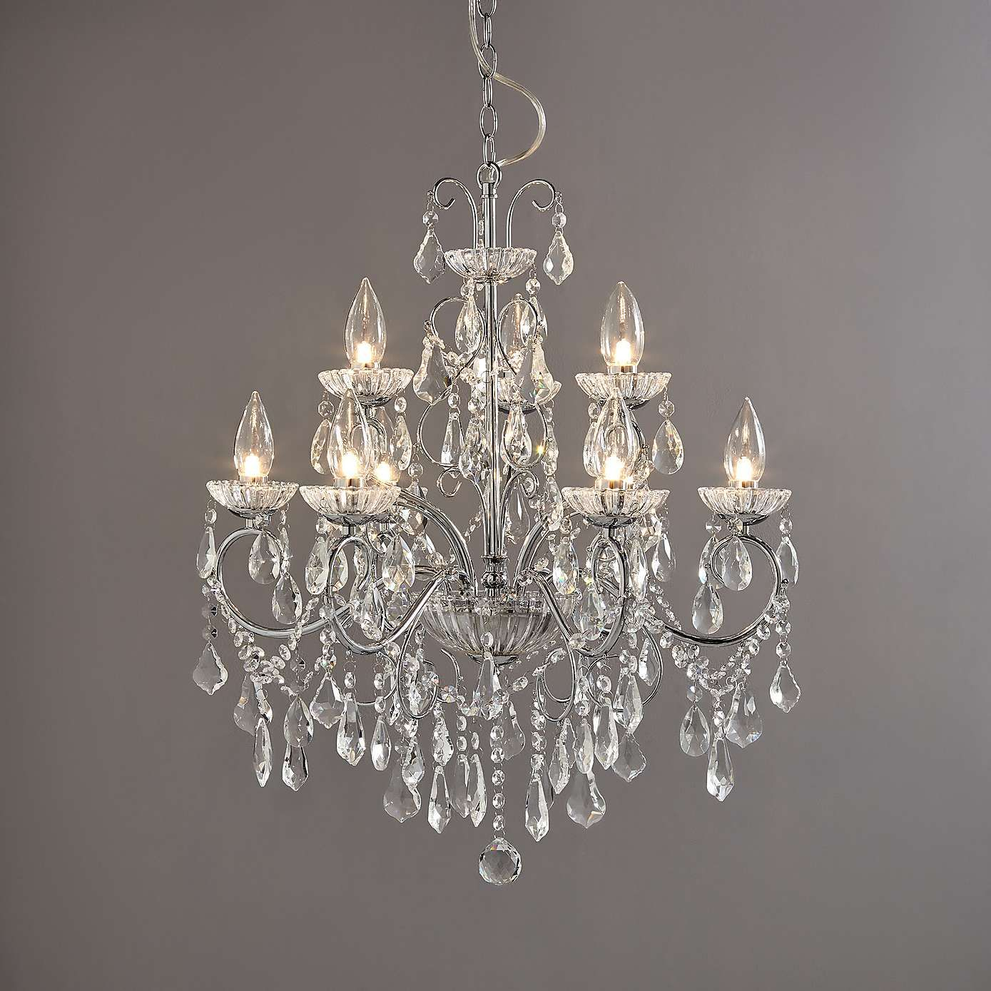 Vela 9 Light Adjustable Chrome Chandelier