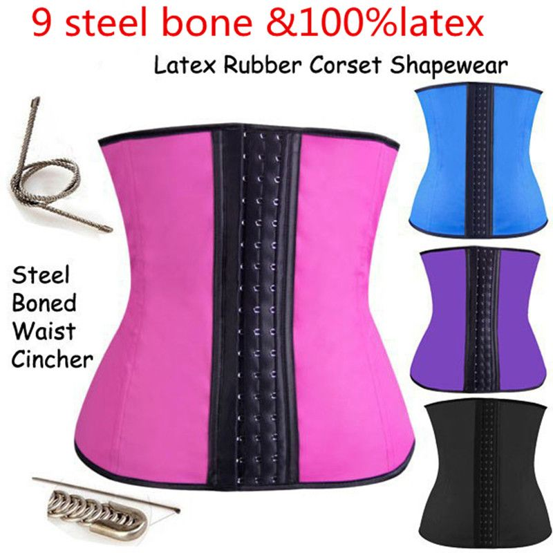 0a89b3bb04c AJ2238 Comeondear Bodyshaper 9 Steel Bones Latex Corsets Zipper Waist  Trainer Rubber Waist Cincher Corset Slim