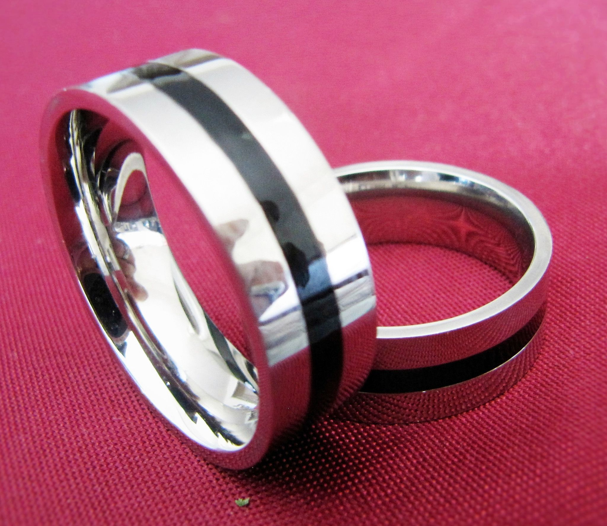 316 Stainless Steel Mirror Finish Concave Black Line Band Ring ...