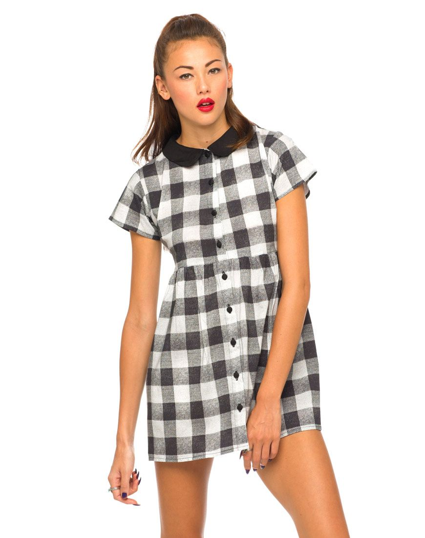 f20d3ff0cf6 Motel Beatrix Babydoll Dress in Gingham Small