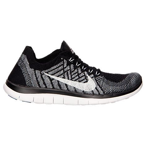 Discount Women Nike Free 4.0 Flyknit 717076-001 Black Wolf Grey Dark Grey White For Sale
