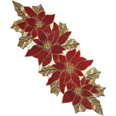 Beaded Poinsettia Table Runner From Pier 1 Imports Saved To Christmas Time Shop More Produc Poinsettia Table Runner Holiday Table Runner Amish Quilt Patterns