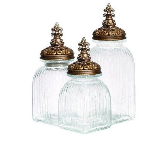 Clear Glass Canister Set W Gold Lids 3 Piece Decorative