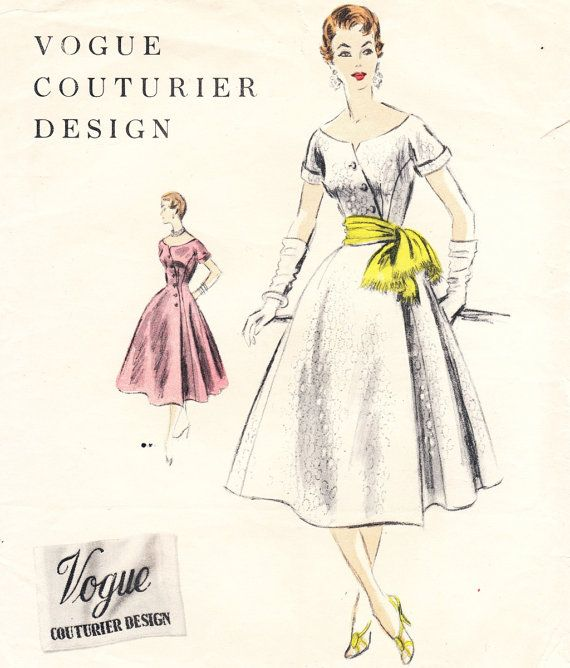 Vintage 1950s asymetric dress sewing pattern by glassoffashion ...