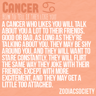 To be able to tell if cancers like you  This is spot on  Im